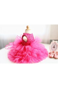 Sleeveless High Neck Ruffled Organza Dress With Lace Top