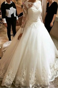 Elegant Tulle Lace Appliques Princess Wedding Dress 2018 Long Sleeve