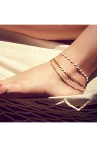 Simple And Stylish Fashion Bohemian Beaded Sequins Bare Chain Ankle Bracelet 22Cm
