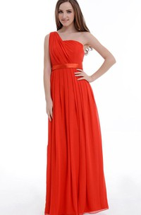 A-line One-shoulder Chiffon&Satin Dress