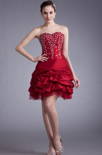 Unique Sweetheart Sleeveless Short Dress With Crystal Detailing And Ruffles