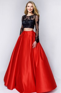 Two-Piece A-Line Scoop-Neck Long Sleeve Satin Keyhole Dress With Lace And Appliques