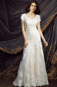 Modest Short Sleeve Lace Wedding Dress