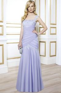 Sleeveless Square Neck Appliqued Satin Formal Dress With Low-V Back
