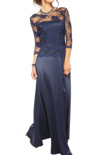 Floor-length Lace&Satin Dress