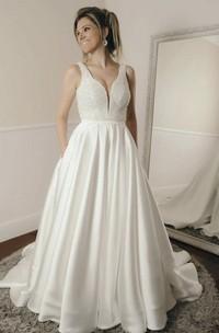 Sleeveless Simple Ballgown Elegant Plunging Beaded Satin Wedding Dress