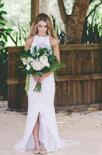 Sexy Bohemian High Neck Front Split Beach Simple Lace Backless Wedding Dress