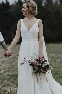 Plunging V-neck Goddess A-line Elegant Wedding Dress With Chapel And Watteau Train