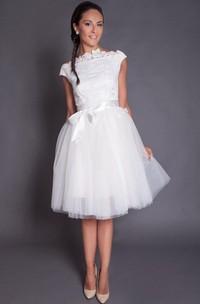 Short Knee Length A-Line Tulle Wedding Dress With Satin Sash