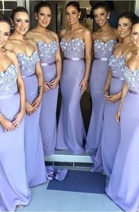 Sexy Sweetheart Sleeveless Mermaid Bridesmaid Dress With Appliques