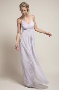 Sleeveless Bowed Spaghetti Chiffon Bridesmaid Dress With Low-V Back