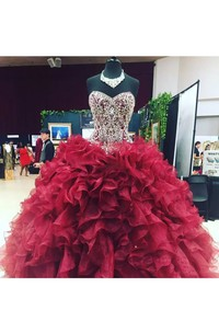 Ball Gown Sweetheart Sleeveless Floor-length Organza Prom Dress with Beading and Ruffles