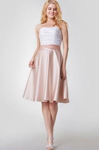 Noble Sleeveless Short Satin Dress With Ruching