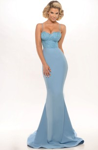 Trumpet Spaghetti Long Jersey Prom Dress