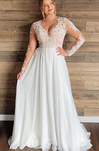 Bohemian A Line Chiffon Lace V-neck Long Sleeve Wedding Dress With Lace and Pleats