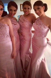 Modern One-shoulder Mermaid Bridesmaid Dress Floor-length With Lace