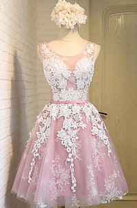 Pretty New Arrival Sleeveless Scoop Knee-length Tulle Dress