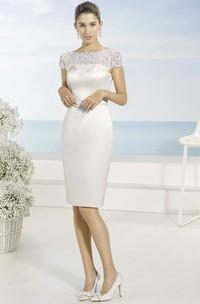 Pencil Bateau-Neck Short Short-Sleeve Satin Wedding Dress