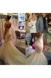 Backless Sexy V Neck Beaded Spaghetti Straps Mermaid Lace Appliqued Bridal Gown
