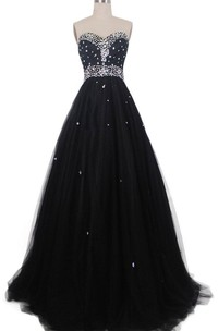 Sweetheart A-line Gown With Sequins and Pleats