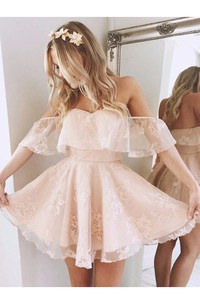 A-line Off-the-shoulder Sleeveless Ruching Short Mini Lace Homecoming Dress