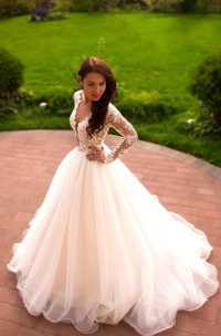Long Sleeve Tulle Lace Dress With Beading Illusion Button Lace-Up Back