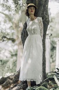 Long Sleeve Vintage Lace Tea-length Wedding Dress With Scoop Neck And V-back