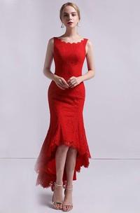 Simple Lace Mermaid Scalloped Sleeveless Deap-V Back Dress
