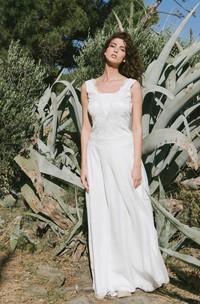 Adorable Sleeveless Wedding Dress With Deep-V Back