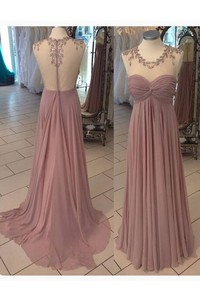 A-line Illusion Chiffon Dress with Pleats and Appliques