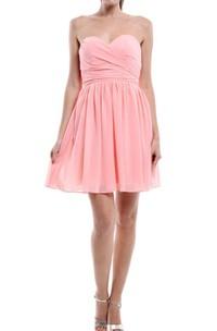 A-line Short Sweetheart Chiffon Dress