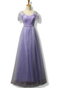 A-line Floor-length Short Sleeved Scoop Neck Tulle Dress