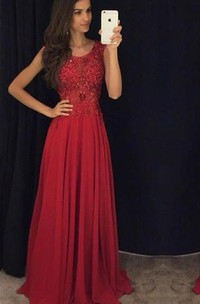 Fit and Flare Sleeveless Red Evening Dresses 2018 Lace Appliques Chiffon