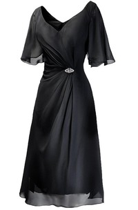 Short-sleeved Tea-length Dress With Beading and Ruching