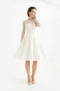Knee-Length Long Sleeve Taffeta Weddig Dress