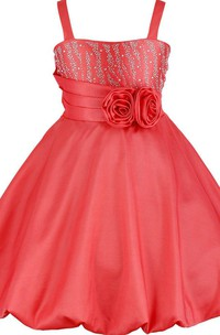 Sleeveless A-line Dress With Flowers and Straps