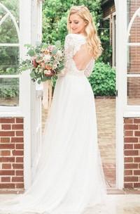 Long Sleeve Chiffon Tulle Lace Wedding Dress