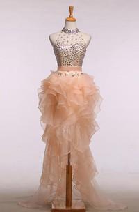 High Neck Sleevelss Beading Ruffled High-low A-line Dress