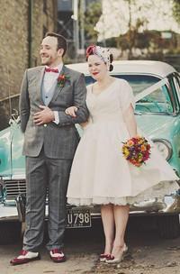 Short Sleeve V Neck Pleated Satin Tea Length Plus Size Wedding Dresses