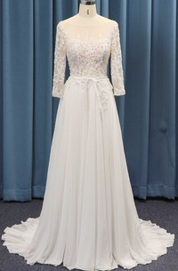A-line 3/4 Sleeve Lace Top And Chiffon Ruched Skirt And Sash Adorable Wedding Dress