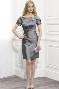 Short-Sleeve Broach Bateau-Neckline Midi-Length Mother Of The Bride