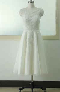 A-Line Knee-Length Cap Beading Flower Zipper Corset Back Chiffon Tulle Lace Sequins Satin Dress