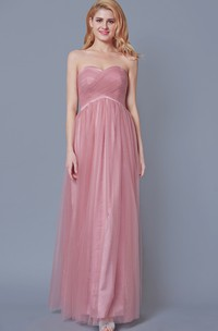 Charming Sleeveless A-line Tule Gown With Ruching