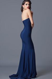 Ambitious Sleeveless Trumpet Long Jersey Dress With Zipper Back