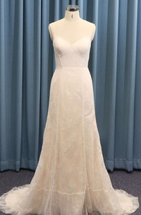 Open Back Lace Sexy Spaghetti Boned Straps A-line Wedding Dress