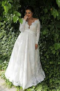 Sexy Sheer V Neck Long Sleeves Lace Floor Length Garden Plus Size Wedding Dress