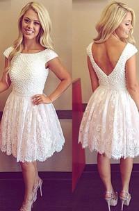 A-line Bateau Short Sleeve Beading Pleats Short Mini Lace Homecoming Dress