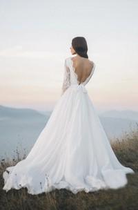 Chiffon Long Sleeve Illusion Wedding Dress With Deep V-back And Court Train