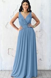Sexy A Line V-neck Chiffon Sleeveless Long Bridesmaid Dress