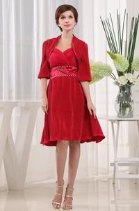 Refined Knee-Length Dress With Beaded Waist and Bolero